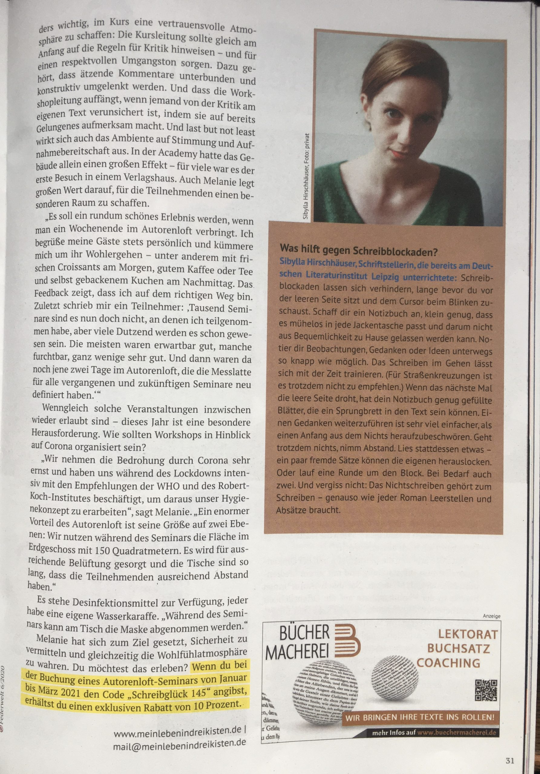 Was hilft gegen Schreibblockaden fragt Sibylla Hirschhaeuser